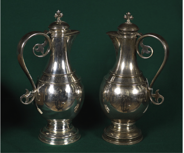 Two flagons, 1724, silver. York Minster Library: (Museum) 8.3 Image by kind permission of York Minster Collection
