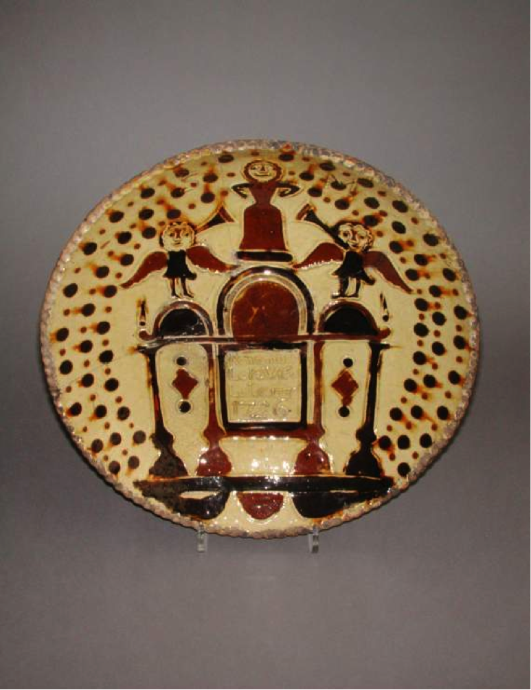 Earthenware dish with images and 'Remember Lot's Wife'