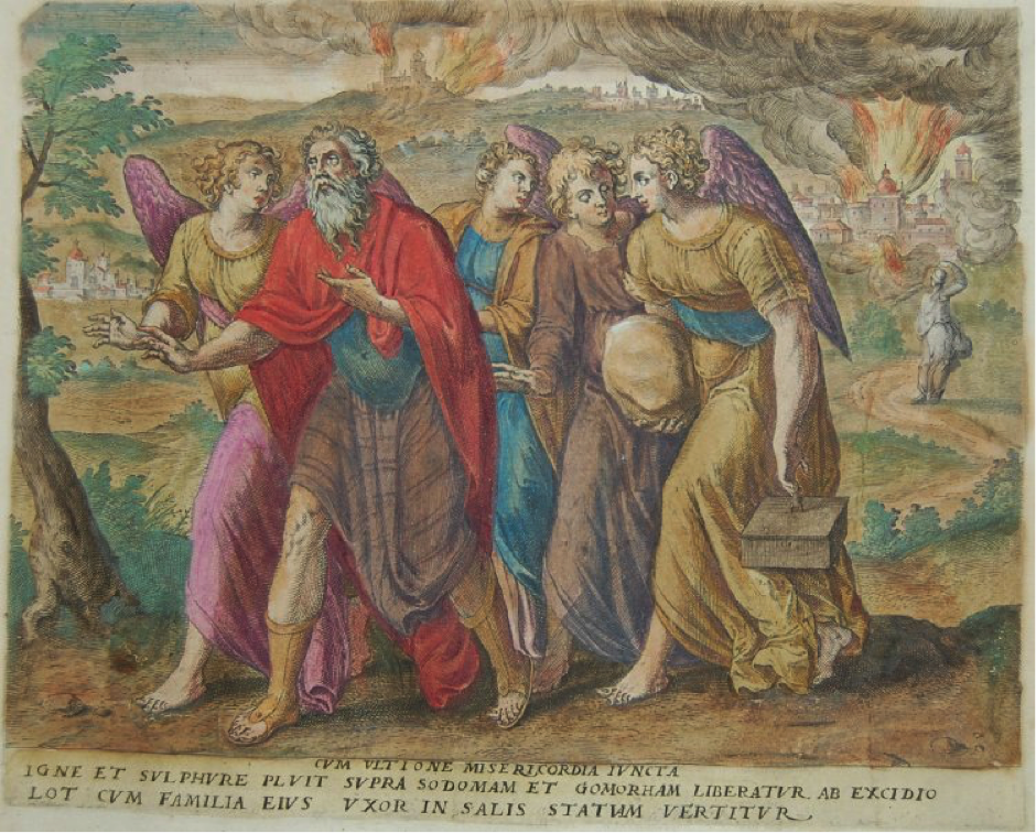 Lot and his family escaping from Sodom and Gomorrah, print by Gerard de Jode's in Thesaurus sacrarum historiarum veteris testament (1585).
